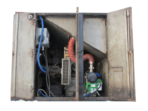PDI's PowerHouse™ idle reduction technology installed onboard a locomotive with doors open