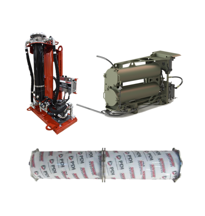 Collage of Diesel Dehydrator, fuel filter canister and fuel filter element