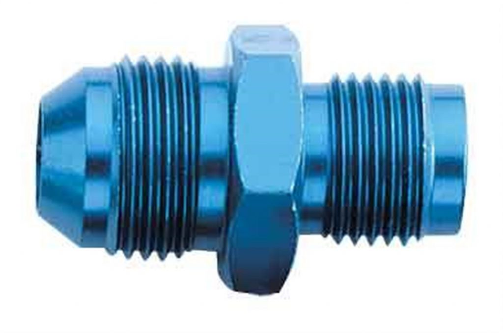Blue anodized aluminum adapter for high performance applications