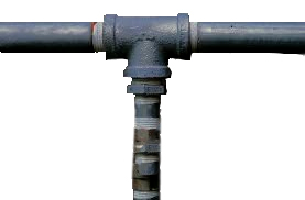 Black pipe fitting on black pipe for return side of hydraulics