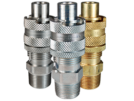 Pneumatic quick disconnect couplings in brass steel and stainless steel