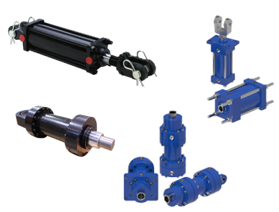 Collage of hydraulic cylinders including NFPA, mill, welded and agricultural