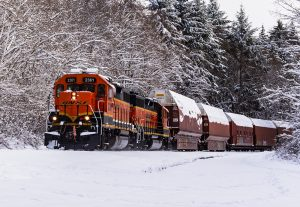 BNSF locomotive traveling through the snow