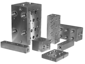 Group of steel hydraulic bar manifolds
