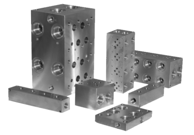Group of steel hydraulic bar manifolds