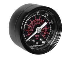Black pneumatic gauge with red and white writing