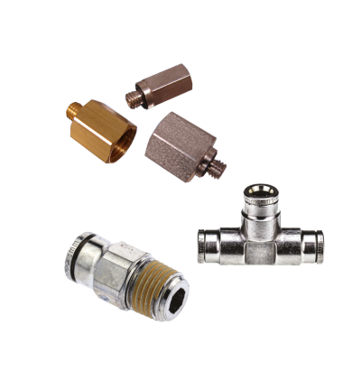 Pneumatic adapter collage of threaded and tube-to-tube adapters