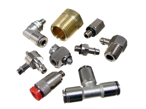 Collage of nine different pneumatic fittings