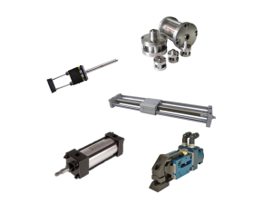 Pneumatic actuator collage of gripper, rodless, NFPA, compact and thruster actuators
