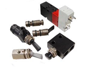Collage of pneumatic valves including solenoid and manual