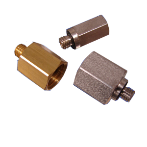 Three threaded pneumatic adapters in brass, steel and stainless steel