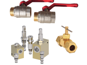 Collage of ball, needle and flow control hydraulic valves
