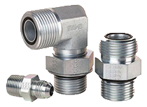 Three steel hydraulic adapters in various sizes