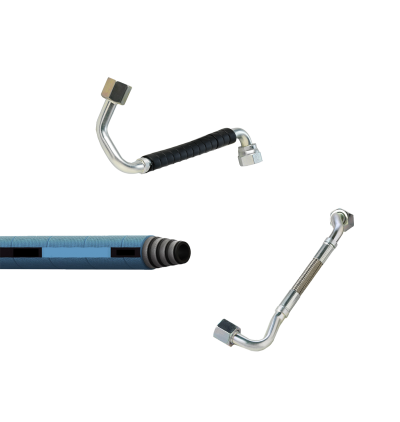 Collage of low pressure fuel hose-tube combinations and low pressure AQP hose for diesel engine applications.