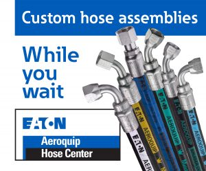 custom hose assemblies while you wait with hose bouquet and eaton logo